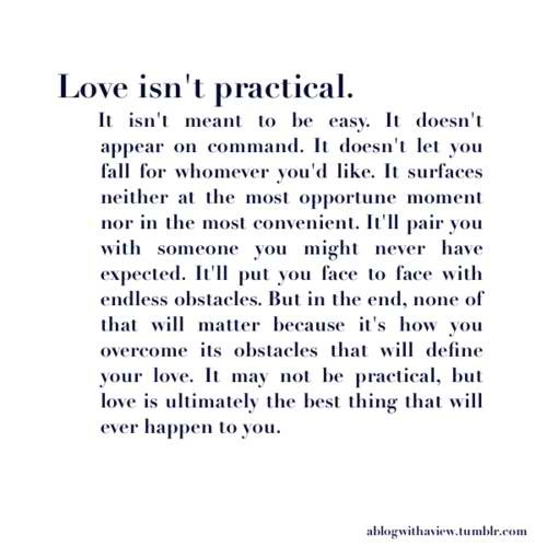 love isn't pratical